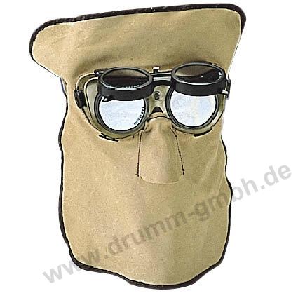 30 cm Ledermaske, Standard-Ausführung, mit hochklappbarer Kunststoffbrille