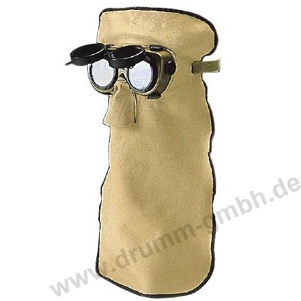 45 cm Ledermaske, Standard-Ausführung, mit hochklappbarer Kunststoffbrille