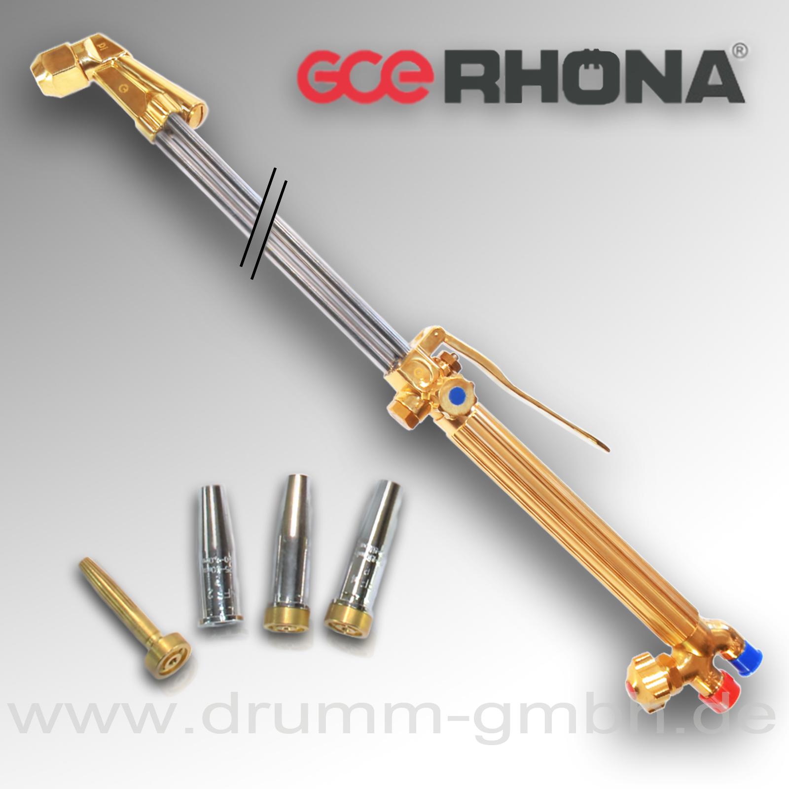 GCE Handschneidbrenner H03 (42-3), 1200 mm,  Kopf 70° für Propan / Sauerstoff + 3 Schneiddüsen